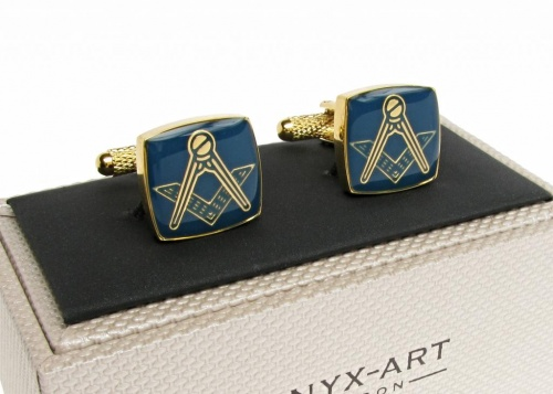 Masonic Blue Square & Compass Gold Coloured Cufflinks